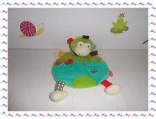 ♣ - Doudou Semi Plat Singe Safari Vert Marron Orange ...... Dentition Babysun