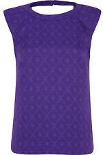 River Island Purple Baroque Embossed Front T-shirt UK 8 Short Sleeve New BNWT
