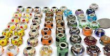 Large Lot 55 Pcs Asst Big Hole Glass Beads Fit Pandor European Bracelet