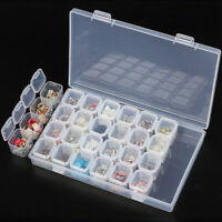 Clear Plastic 28 Slot Adjustable Jewelry Storage Boxes Case Craft Organizer Bead