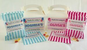 Personalised Birthday Party Favour Gift Box Meal Candy Cart Sweet Bags Partywear