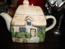 COLLECTABLE SWEET MINIATURE DISPLAY TEAPOT IN COTTAGE SHAPE GILDED HIGHLIGHTS