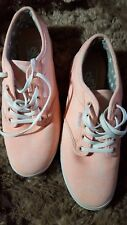 Vans Casual Sneakers  #TC9R Peach & White  Women's US Size 7 Excellent Condition