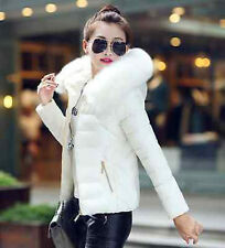 UK Womens Winter Warm Down Cotton Jacket Slim Short Fur Collar Hooded Coat Parka