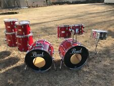 Pearl World Series Red Drum Set Kit 8 Piece Double Bass Drums Birch Mahogany