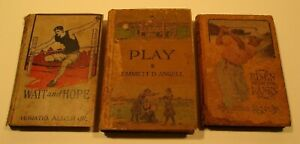 3 Early 1900's Sports Books-PLAY,RISEN from the RANKS,WAIT and HOPE-Nice!