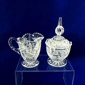 Creamer Sugar Bowl with Lid Hofbauer Byrdes West Germany Elegant Pressed Glass