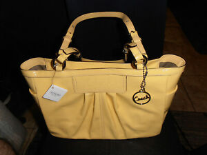 Coach Yellow Patent Pleated Purse Tote Bag W/ Short Adjustable Straps NWT Nice!