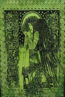 Green Blessing Angel Tapestry Poster Tie-Dye Wall Hanging Home Decor Bohemian