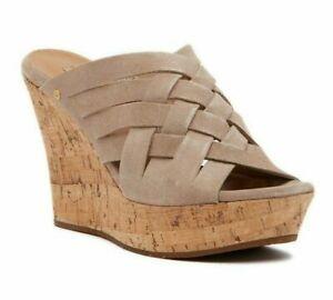 UGG Australia Marta Women's Suede Wedge Heel Slide Sandals Horchata UK SIZE 3.5