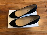 LK Bennett black leather suede shoes UK 6 39 with box weddings races