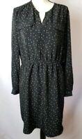 Mossimo Womens Size XL Black White Polka Dot Long Sleeve Dress