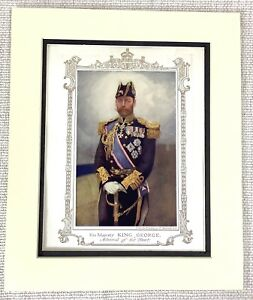 1914 Antique Print King George V Portrait Painting Admiral of the Fleet Uniform