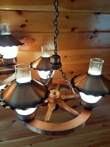 Antique VTG Mid Century Wagon Wheel Ceiling  Chandelier Light/Lamp, 2 Available