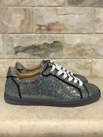 NIB Christian Louboutin Seava Flat Silver Glitter Disco Ball Lace Up Sneaker 36