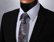 Grey Premium Blue Tie Black & Pink Floral Paisley Silk