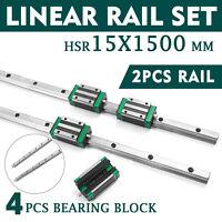 15-1500mm 2x Linear Guideway Rail 4x Square Type Bearing Block HGH 15CA