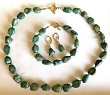 HANDCRAFTED KINGMAN TURQUOISE & GOLD FILLED NECKLACE & BRACELET & EARRINGS SET