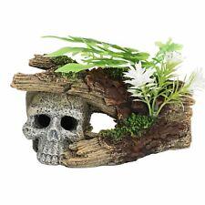 Aquatic Aquarium Decor Skull Log With Plants Fish Tank Ornament 16x10x9
