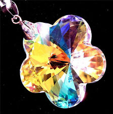 PENDANT/NECKLACE ST Glass Crystal Large Pastel AB IRIDESCENT FLOWER