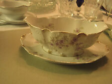 Antique Limoges GDA Lavender Violet Sauce Boat With Underplate