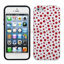 Apple iPhone SE/ iPhone 5 5s Case - Red Polka Dot Soft Plastic TPU Skin Cover