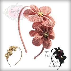 CLEARNCE!! REDUCED !! Twin Rose Flower Bud Hair Head Alice Band. Chiffon Style.