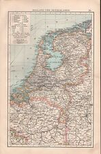 "1900 ""TIMES""  LARGE ANTIQUE MAP - HOLLAND AND THE NETHERLANDS"