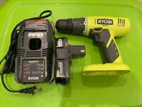 RYOBI 18 VOLT DRILL P209 WITH CHARGER AND BATTERY. Dated 2019