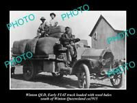 OLD LARGE HISTORIC PHOTO OF WINTON QLD, OLD FIAT TRUCK LOADED WITH WOOL c1915