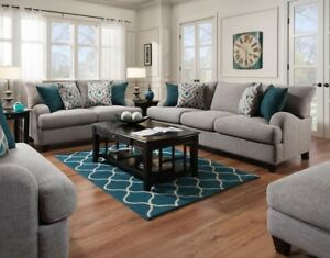 4 piece Living Room Set ROSALIE Gray Sofa Loveseat Ottoman Chair and a half