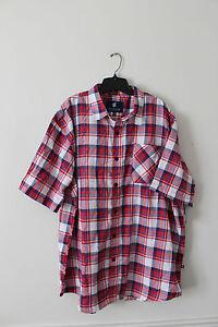 New WTag Rocawear plaid button down short sleeve red dress shirt men's 3XB $50