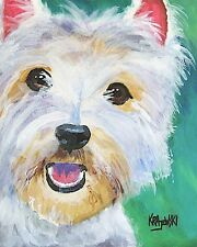 West Highland White Terrier Art PRINT Westie Painting Gifts Poster  8x10