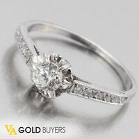 1920s Antique Art-Deco Platinum Diamond Engagement Ring Size 7 - 0.60ctw