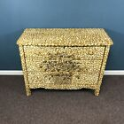 Antique 3 Drawer Nautical Themed Seashell Mosaic Decorated Dresser