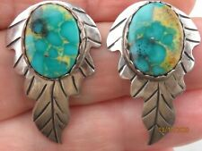 Vintage Barton Sterling Silver Native American Navajo natural Turquoise earrings