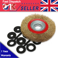 6″ Inch 150mm Fine Wire Brush Wheel With 10pcs Adaptor Rings For Bench Grinder