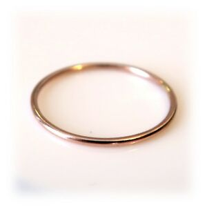 1mm Solid 9ct Red Rose Gold Skinny Round band Stacking Ring Polished Finish