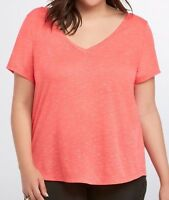 TORRID  1X XL T-Shirt Tee Top Red Speckle Double V-Neck Layering Basic Plus NWT