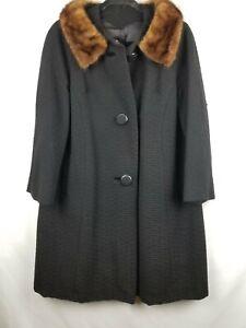 Womens Vintage Black A-line Dress Coat With Mink Collar