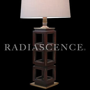LRG STIFFEL CUBE SCULPTURE ASIAN HOLLYWOOD REGENCY MODERN BRASS TABLE LAMP '50