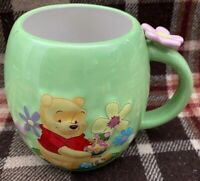 The Disney Store Winnie the Pooh  3D Flower Handle Green Coffee Mug Cup. #23