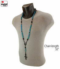Hip Hop Glass 8mm Aquare Bead Black Rosary Pray Hand & Jesus Cross Necklace BKAQ