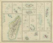 INDIAN OCEAN Madagascar Seychelles Maldives Mauritius Réunion. SDUK 1874 map