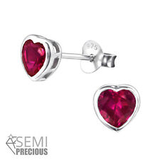 925 Sterling Silver Ruby Gemstone Heart Stud Earrings (Design 3)