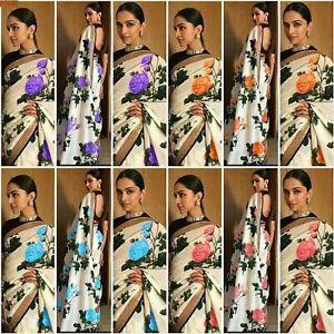 Saree Sari Georgette Floral Printed Saree Wedding Bridal Indian Designer New US