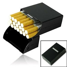 Black Aluminum Metal Cigarette Box Holder Tobacco Storage Case Pack Surrou Uwwj