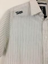 Billabong Multi Color Striped Short Slv Button Embroidered Logo Shirt Medium m