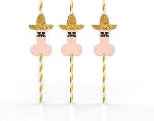 24 PCs Naughty Hatman Straw - Bachelorette Party Decorations Bridal Shower