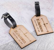 2pcs Personalised Wooden Luggage Tags Mr and Mrs Compass Custom Tags